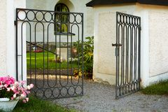 Open Gate. An open gate in the wall stock images