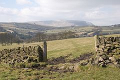 Open gate. In dry stone wall between fields Stock Images