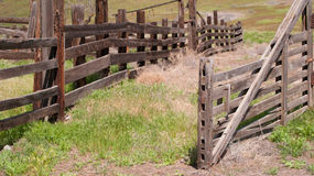 The Open Gate. A forgotten farm in the Selah Creek Valley.  Once full of cattle, it now stands empty, lonely and abandoned Stock Image