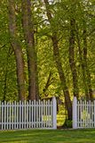 Open gate leading to forest. Open garden gate in white picket fence leading to scenic forest royalty free stock photo