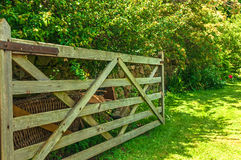 Open Gate into Meadow Field Royalty Free Stock Images