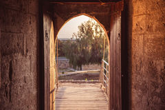 Open gate at medieval Kolossi castle. Limassol, Cyprus.  Royalty Free Stock Photography