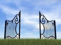 Open gate in nature - 3D render Royalty Free Stock Photos