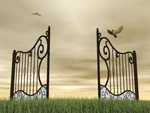 Open gate in nature - 3D render Stock Photo