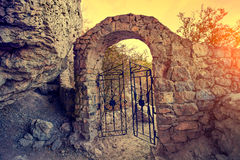 Open gate in rock. At sunset royalty free stock photos