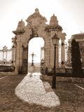 Open Gate in the Sun. Gate to Buda castle in Budapest, Hungary Royalty Free Stock Photography