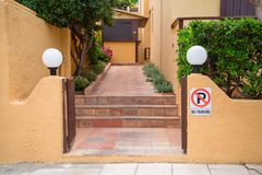 Open the gate to the hotel. Crete Island, Greece royalty free stock photos