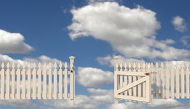 Open gate to paradise. Wooden fence with open gate to paradise - rendering vector illustration