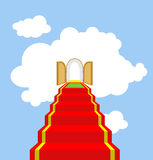 Open gates of paradise. Ladder into clouds. Degree in sky. Red c Stock Image