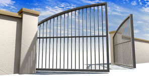 Open Gates And Wall Stock Photos