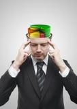 Open gelete op mens met kleurrijke 3d cirkeldiagramgrafiek Stock Fotografie
