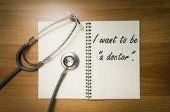 Open geschreven boek wil ik een arts zijn Royalty-vrije Stock Foto
