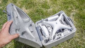 Open geval met quadrocoptersdji Spoor 4 royalty-vrije stock fotografie
