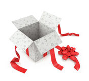 Open Gift. With star prints and textured red ribbon Royalty Free Stock Images