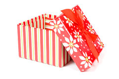Open gift box. Isolated on a white background stock images