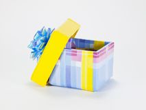 Open gift box. With bow on white background royalty free stock images