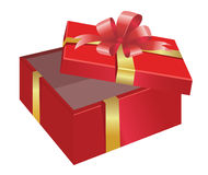Open Gift Box. Vector open gift box with glossy gold bow Royalty Free Stock Photography