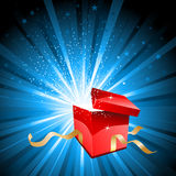 Open gift box. With stars bursting out of it Royalty Free Stock Photo