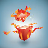 Open gift box. Royalty Free Stock Photo