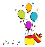 Open gift box with balloons for your birthday, col Royalty Free Stock Photos