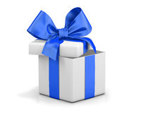 Open gift box. With blue bow  on white Stock Photography