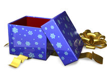 Open gift box blue Royalty Free Stock Photography
