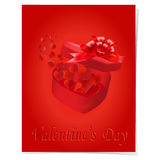 Open gift box with a bow on a red background. Flying hearts. illustration Stock Images