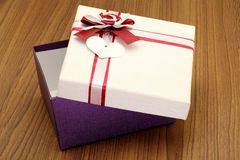 Open gift box with bow Royalty Free Stock Photos
