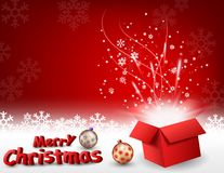 Open gift box with bright light and confetti, christmas background Royalty Free Stock Image