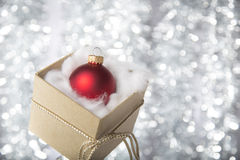 Open gift box with christmas ball Royalty Free Stock Photos