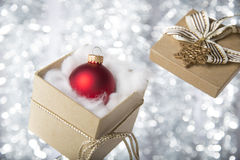 Open gift box with christmas ball Royalty Free Stock Photography