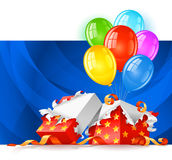 Open gift box with color balloons Stock Photography