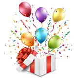 Open gift box with colorful balloons. This image was made by an illustrator. Vector EPS 10 format Royalty Free Stock Photo