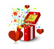 Open Gift Box with Colorful Confetti and Paper Red Hearts Isolated on White Background. Open Gift Box with Colorful Confetti and Paper Cut Red Hearts Isolated on stock illustration