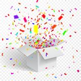 Open Gift Box and Confetti. Christmas Background. Vector Illustration.  Royalty Free Stock Photography