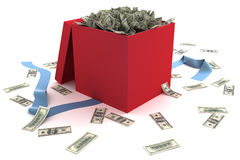 Open gift box full of money Royalty Free Stock Photos