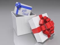 Open Gift Box and Gift Card Royalty Free Stock Photography