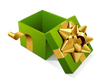 Open gift box with glossy gold bow Stock Image