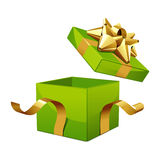 Open gift box with glossy gold bow Royalty Free Stock Image