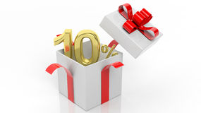 Open gift box with gold 10 percent number. In it,  on white background Royalty Free Stock Photography