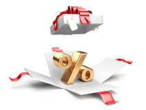 Open gift box with gold percent symbol Stock Image