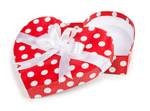 Open gift box in heart shape with bow Royalty Free Stock Photos