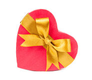 Open gift box in heart shape with bow.  Stock Photos