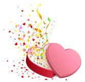 Open gift box in heart shape Stock Photography