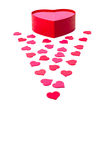 Open gift box with heart-shaped and scattered hearts Stock Photo