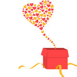 Open gift box with heart shapes coming out of it Stock Photos