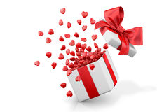 Open gift box with hearts Royalty Free Stock Photo