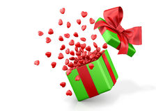 Open gift box with hearts Royalty Free Stock Photography