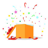 Open Gift Box Illustration. Holiday Collection. Open square gift box with bow and stars that pop-up out of it on white background. Present package with bursting Royalty Free Stock Image