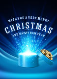 Open Gift Box Magic Light fireworks and Christmas Royalty Free Stock Image